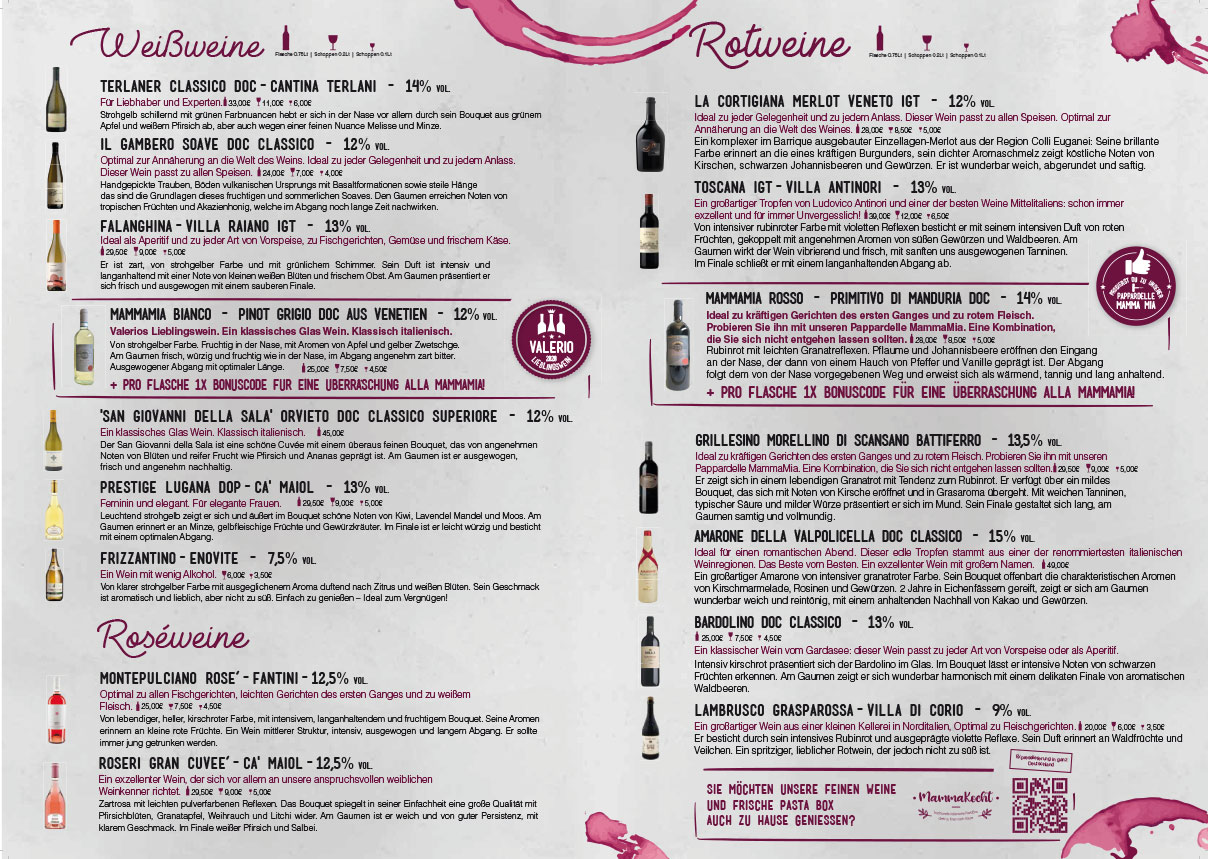 Getränke- & Weinkarte